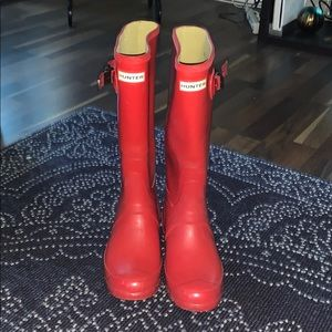 Red Wide Cafe Hunter Boots